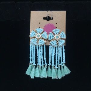 4e686ccfd Jewelry - Turquoise & rhinestone flower tassel earrings